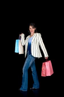 Free Happy Young Woman Shopping Royalty Free Stock Image - 6740116