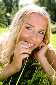Free Young Blond Woman In A Park Stock Photo - 6740130