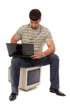 Young Successful Guy Working With Laptop Royalty Free Stock Image