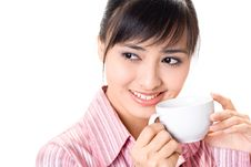 Free Asian Woman Have A Coffee Break Stock Images - 6740944