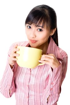 Free Asian Woman Have A Teabreak Stock Photos - 6741173