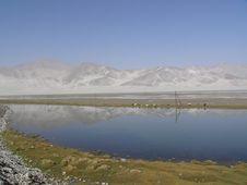 Free Sandy Mountain By Blue Lake Royalty Free Stock Photo - 6741305