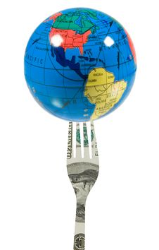 Free Globe On A Fork Made Of US Dollars Stock Photo - 6741770