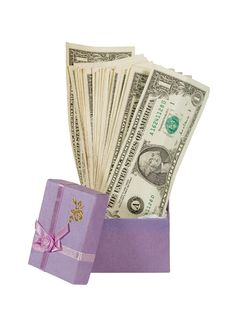 Free Bunch Of Dollar Bills In A Gift Box Royalty Free Stock Image - 6741776