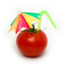 Free Tomato With Cocktail Umbrella. Stock Images - 6742744