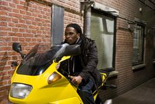 Free Young Urban African American Male On Motorcycle Stock Images - 6742824
