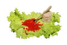 Red Caviar  On Lettuce Royalty Free Stock Image