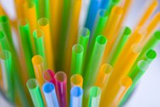 Bunch Of Multicolored Straws Stock Photography