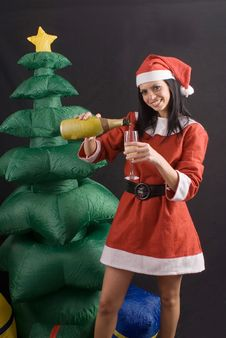 Free Young Sexy Santa Claus Girl On Black Background Royalty Free Stock Photos - 6745408
