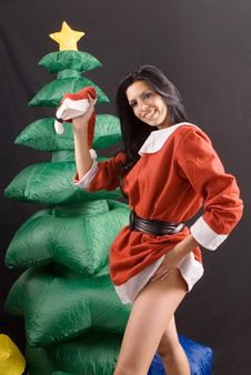 Free Young Sexy Santa Claus Girl On Black Background Stock Images - 6745554