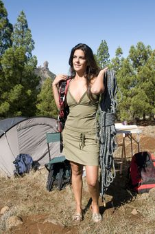 Woman Standing Beside His Tent Stock Photos