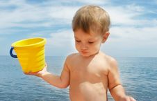 Free Baby Boy On Beach Stock Images - 6745964