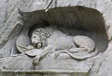 The Dying Lion Monument In Luzern Royalty Free Stock Photography