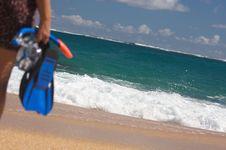 Free Woman Holding Snorkeling Gear Stock Photos - 6749773