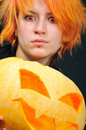 Free Red-hair Witch With Pumkin Stock Images - 6752074