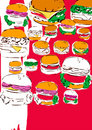 Free Pop Art Hamburgers Stock Image - 6757341