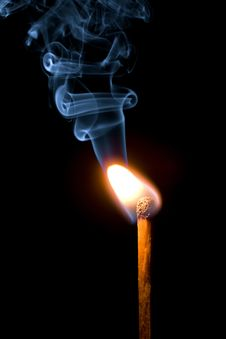 Match Burning With Smoke Royalty Free Stock Photography
