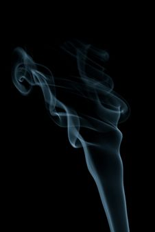 Blue Smoke Isolated On Black Royalty Free Stock Photos