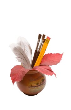 Vase With Feathers Stock Image