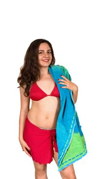 Free Pretty Girl In Swim Suit With A Towel Royalty Free Stock Image - 6751416