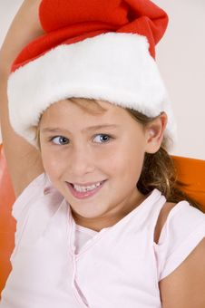 Free Smiling Little Girl With Christmas Hat Stock Images - 6752574