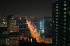 Free Brightly Lit Street In Night City, Kyiv Royalty Free Stock Images - 6754489