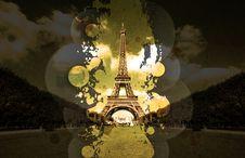 Vinyl Splatter Eiffel Tower Stock Images
