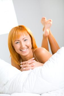 Free Happy Woman In Bed Stock Photo - 6756420