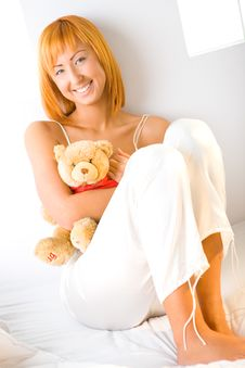 Woman Hugging Teddy Bear Stock Photos