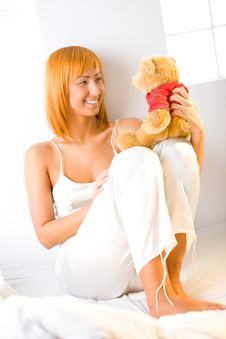 Free Young Woman With Teddy Bear Royalty Free Stock Images - 6756659