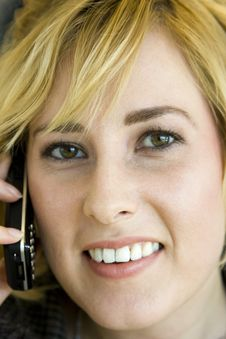 Free Young Blonde Caucasian Woman On Mobile Phone Royalty Free Stock Photos - 6756858