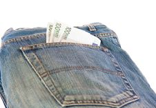 Bunch Of Euro Banknotes In The Back Pocket Royalty Free Stock Photography