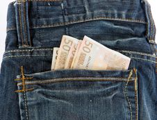 Bunch Of Euro Banknotes In The Back Pocket Stock Photos