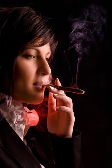 Free Girl Is Smoking In Studio Stock Images - 6757084