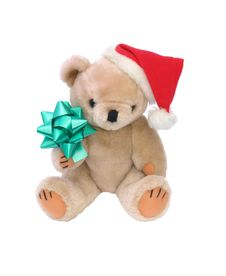 Free Christmas Santa Teddy Bear With Bow Stock Images - 6757824