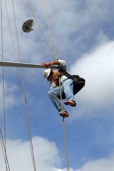 Free Man Inspecting Yacht Spreader Stock Photos - 6758333