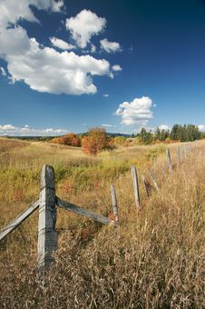 Beautiful Fall Landscape With Rustic Fence Stock Photos