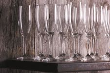 Free Champagne Flutes On Shelf Stock Images - 6758544