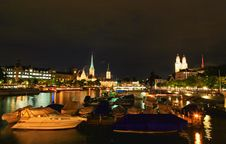 Free The Night View Of Major Landmarks In Zurich Royalty Free Stock Photography - 6758877