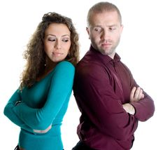 Free Sulky Young Love Couple Stock Photography - 6759872