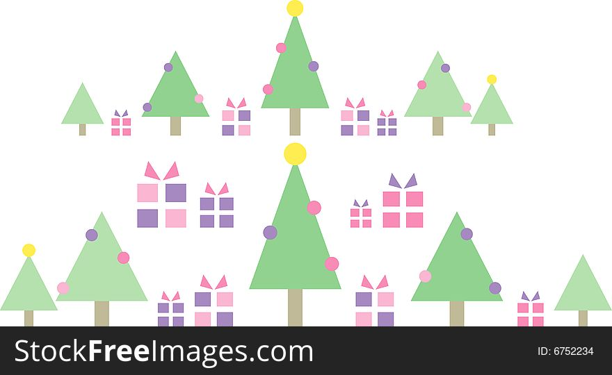 Christmas Trees with Gift Parcels