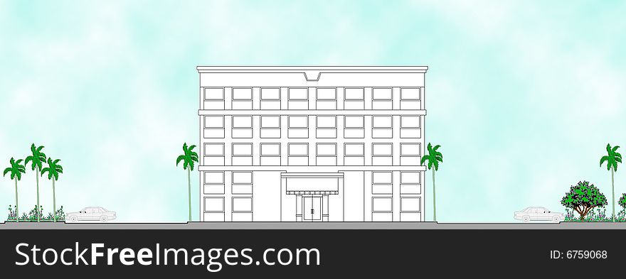 Front Elevation Stock Images : Hotel front elevation with parking free stock images