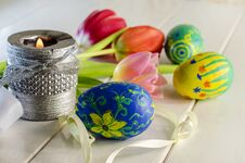 Easter Eggs And Tulips Stock Image