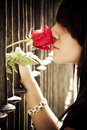 Free Woman Smiling Rose Behind Fence Royalty Free Stock Photo - 6761665
