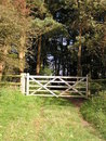 Free Five Bar Gate From Field To Woods Stock Photography - 6764642
