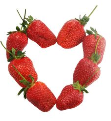 Heart From Ripe Strawberries Stock Photography