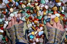Free Feet At Sandal Footwear On Gem Stones Royalty Free Stock Images - 6761649