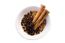 Coriander Seeds, Peppercorns  Cinnamon  Whi Stock Images