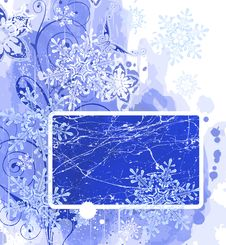 Blue Frame & Snowflakes Stock Images