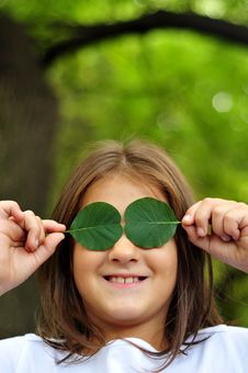 Free Green Leaf And Girl Royalty Free Stock Photo - 6763205